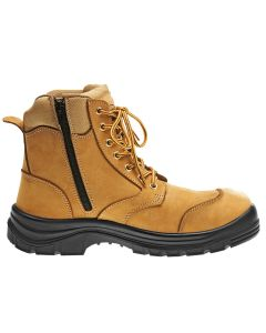 Side Zipper Safety Boots - WHEAT