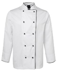 Unisex Chef Jacket L/S - WHITE WITH BLACK PIPING