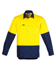Hi Vis Drill Shirt L/S - YELLOW NAVY
