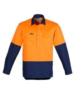 Hi Vis Drill Shirt L/S - ORANGE NAVY