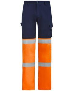 Hi Vis Taped Drill Pants - ORANGE NAVY